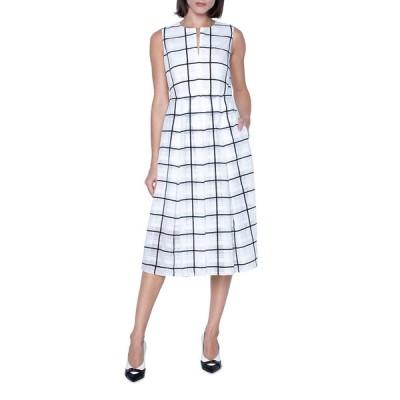 アクリス レディース ワンピース トップス Windowpane Print Midi Dress
