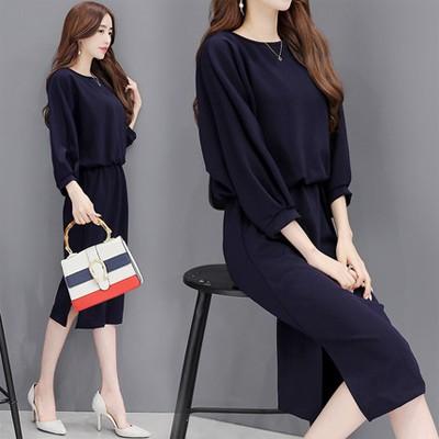 限定特価!!【S~2XL】着回しできるネイビー七分袖スリットワンピース✨膝が隠れる長さで安心♡ワンピース 韓国ファッション
