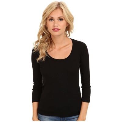 スリードッツ Three Dots レディース Tシャツ トップス 100% Cotton Heritage Knit 3/4 Sleeve Scoop Neck Black
