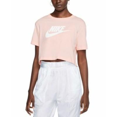 ナイキ レディース Tシャツ トップス Women's Sportswear Cotton Logo Cropped T-Shirt Washed Coral/white