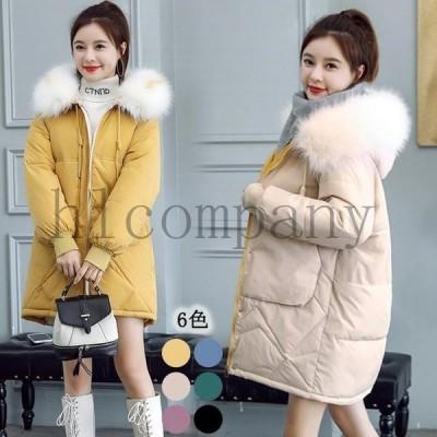 冬中綿コートレディースロング丈コートダウンジャケット軽量フード付きダウンコート暖かい中綿入れジャケット大きいサイズ長袖ファー襟アウター