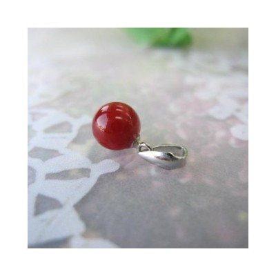 高知産血赤珊瑚の 丸玉のペンダントトップ (6.2ミリ)/Pt900/『宝石サンゴ』