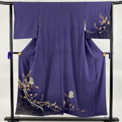 付下げ 秀品 やまと 草花 鬘帯 金彩 螺鈿 青紫 袷 身丈150cm 裄丈65cm M 正絹 中古