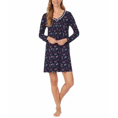 カロールホクマン ナイトウェア アンダーウェア レディース Soft Jersey Long Sleeve Sleepshirt Navy Ground Floral