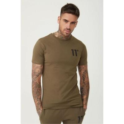 イレブンディグリーズ 11 Degrees メンズ Tシャツ トップス Tee Khaki