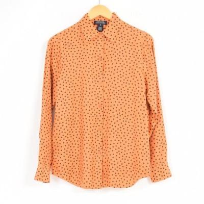総柄 ドット柄 長袖 シルクシャツ 中国製 レディースL /war0168