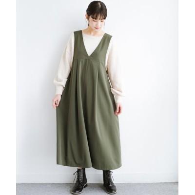 (haco!/ハコ)長め丈登場!Tシャツにもニットにもずーーーっと着られて便利なジャンパースカート/レディース カーキ