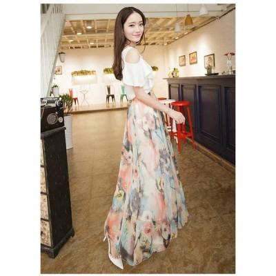 スカート フレアスカート ロング ロングフレアスカート 大きいサイズ フレアスカート春 花柄 ロングスカート マキシ