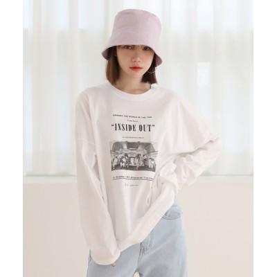 tシャツ Tシャツ カジュアル オーバーシルエット  プリント 長袖Tシャツ