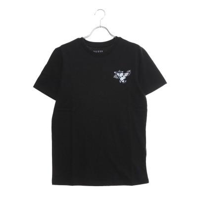 ゲス GUESS PALM SMALL TRIANGLE LOGO TEE (BLACK)