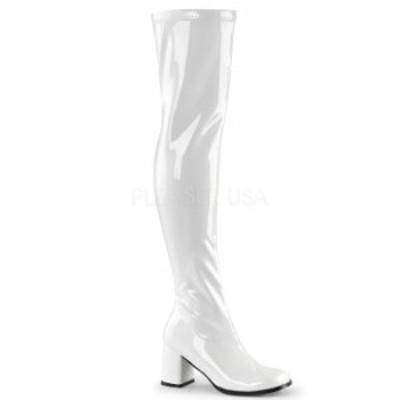ニーハイブーツ ローヒール ストレッチ 大きいサイズ 小さいサイズ ブーツ レディース メンズ 太め 太ヒール 歩きやすい コスプレ セクシ