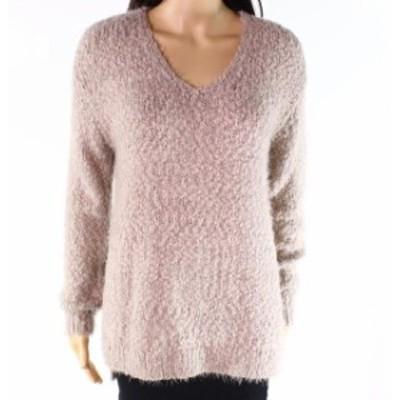 ファッション トップス Sojo Womens Beige Size Small S Textured Eyelash Knit V-Neck Sweater