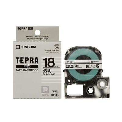 (まとめ) キングジム テプラ PRO テープカートリッジ 18mm 透明/黒文字 ST18K 1個 〔×4セット〕