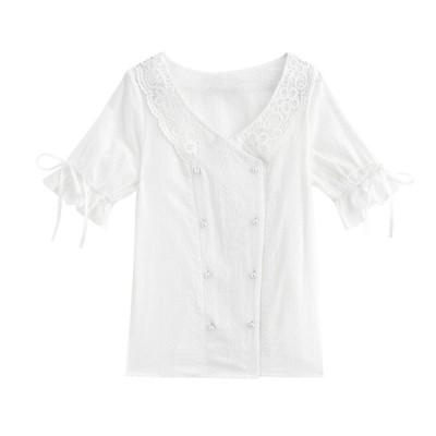 ワイシャツ レディース ブラウス シャツ 学園風 レディース 五分袖 可愛い レース 抗菌防臭 形態安定 事務服  レディース ブラウス
