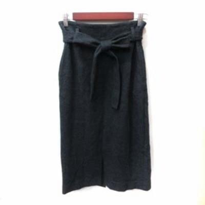 【中古】ウィムガゼット Whim Gazette タイトスカート ミモレ ロング ウール ウエストマーク 36 グレー レディース