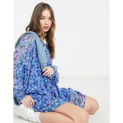ヴェロモーダ ミニドレス レディース Vero Moda smock dress in blue floral エイソス ASOS ブルー 青