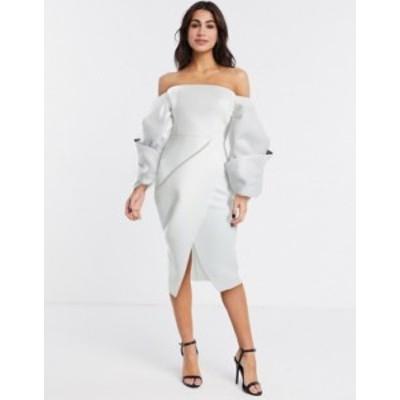エイソス レディース ワンピース トップス ASOS DESIGN Premium twist bubble contrast sleeve wrap pencil midi dress in ivory Ivory