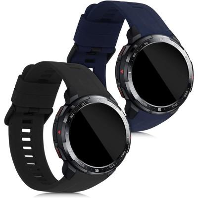 kwmobile 対応: Honor Watch GS Pro 交換バンド - 2x 替えベルト TPU シリコン バンド 黒色/紺色