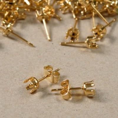 【サージカルステンレス 316L 】5mm 立て爪 石座 台座 ピアス ゴールド×ゴールドキャッチセット 20個 (10ペア) 金属アレルギー対策 アク