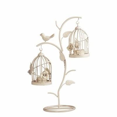 キャンドルホルダー 枝にかけた2つの鳥かご アンティーク風 バラ ちょうちょ