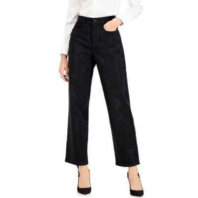 アイエヌシーインターナショナルコンセプト デニムパンツ ボトムス レディース INC High-Rise Embellished Straight-Leg Jeans,  Deep Black