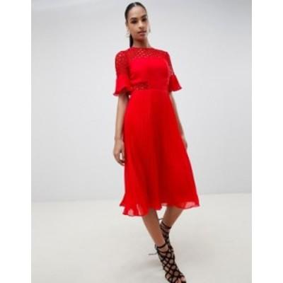エイソス レディース ワンピース トップス ASOS DESIGN lace insert pleated midi dress Red