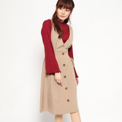 ジーラ GeeRA トレンチ風デザインジャンパースカート (キャメル)