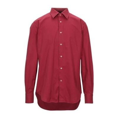 CALIBAN 無地シャツ ファッション  メンズファッション  トップス  シャツ、カジュアルシャツ  長袖 ボルドー