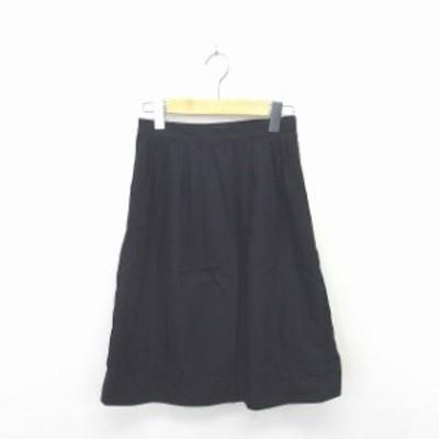 【中古】イエナ スローブ IENA SLOBE スカート フレア 膝下丈 薄手 無地 シンプル 綿 コットン 36 黒 ブラック /TT34