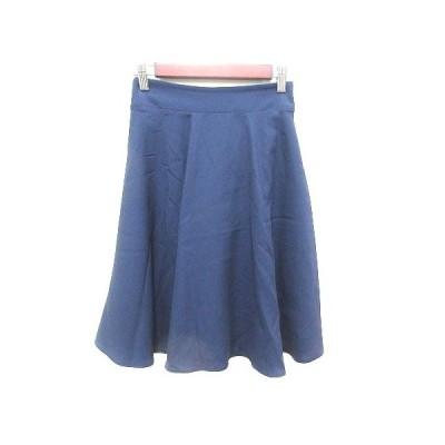 【中古】ナチュラルビューティーベーシック NATURAL BEAUTY BASIC フレアスカート ひざ丈 S 紺 ネイビー /YK レディース 【ベクトル 古着】