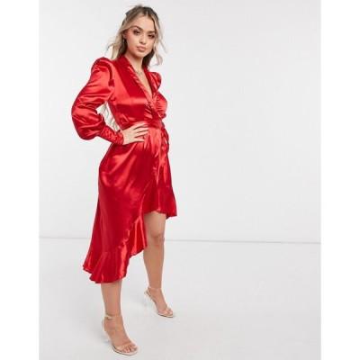 クラブエル ミディドレス レディース Club L London satin midi wrap dress  エイソス ASOS sale レッド 赤