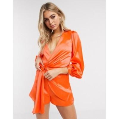 エイソス レディース ワンピース トップス ASOS DESIGN knot front satin romper in orange Coral orange