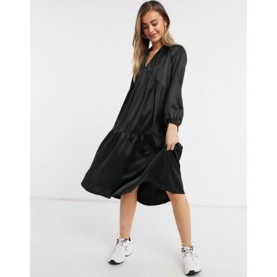 ローラメイ ミディドレス レディース Lola May tiered dress with volume sleeves in black  エイソス ASOS sale ブラック 黒