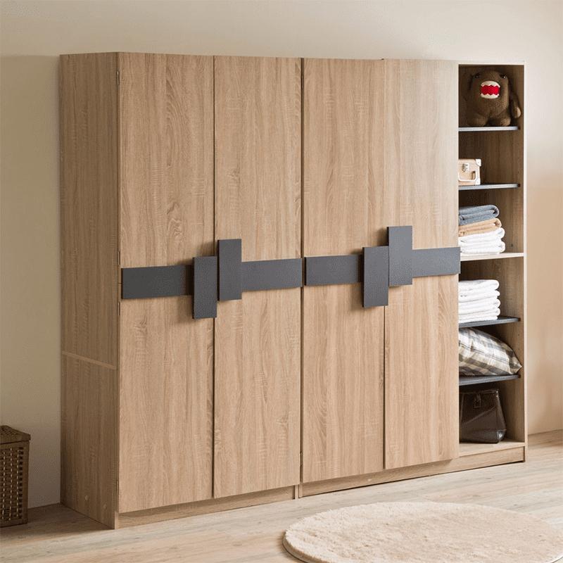 【TZUMii】日式大空間收納櫃衣帽架 雙門衣櫥/二門六格衣櫥/開放式二層衣櫥