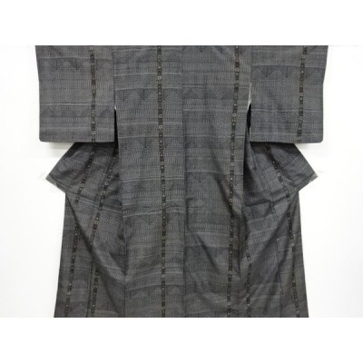宗sou 幾何学模様織り出し十日町紬着物【リサイクル】【着】