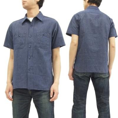 シュガーケーン ピンストライプ ワークシャツ SC37661 Sugar Cane メンズ 半袖シャツ D.ネイビー 新品