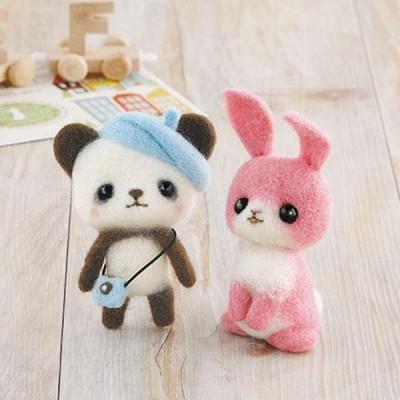 ハマナカ つぶらな瞳の羊毛マスコットキット ベレー帽のパンダちゃんとピンクのうさぎ H441-369   4977444935273