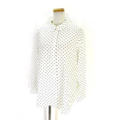 【中古】ユニクロ UNIQLO 美品 シャツ ブラウス カットソー 長袖 ドット 柄 Lホワイト 白 レディース 【ベクトル 古着】
