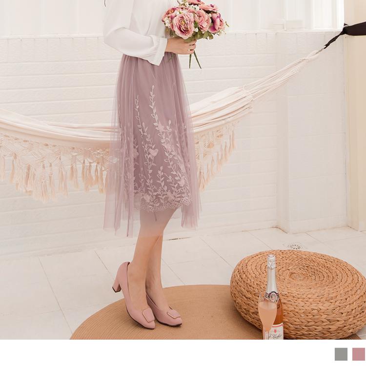 純色腰鬆緊立體花朵繡花網紗中長裙