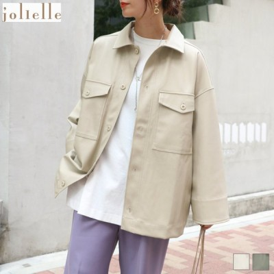 エコレザーBIGシャツジャケット シャツ レザージャケット オーバーサイズ ブルゾン アウター トップス 羽織 エコレザー フェイクレザー 合皮 新作