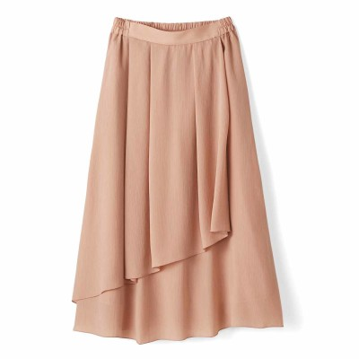 動くたびゆらめく 花びらみたいなラップ風スカート〈ライトピンク〉 IEDIT[イディット] フェリシモ FELISSIMO