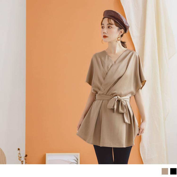 緞面微光交衩造型綁帶設計連袖長版上衣