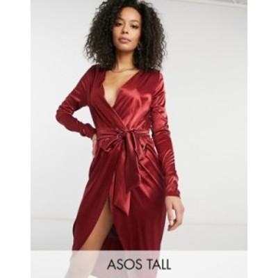 エイソス レディース ワンピース トップス ASOS DESIGN Tall satin wrap mini dress with belt detail in oxblood Oxblood