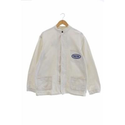 【中古】テンダーロイン TENDERLOIN ロゴ ワッペン スタンドカラー ワーク シャツ ジャケット L 白 201024 0040