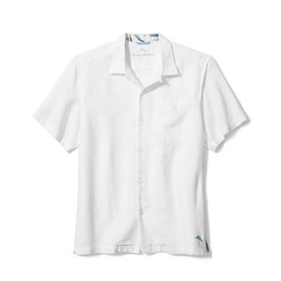 トッミーバハマ メンズ シャツ トップス Sea Glass Linen Short-Sleeve Woven Camp Shirt White