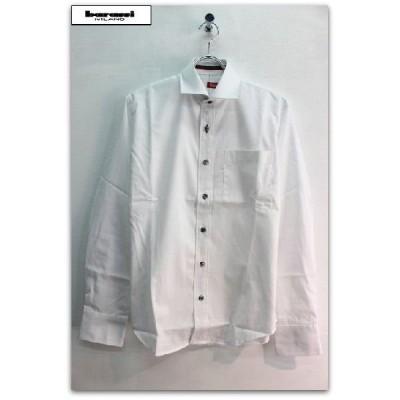 barassi(バラシー) スカルボタン 前立てイタリアンカラーライン 長袖 シャツ ホワイト(白)