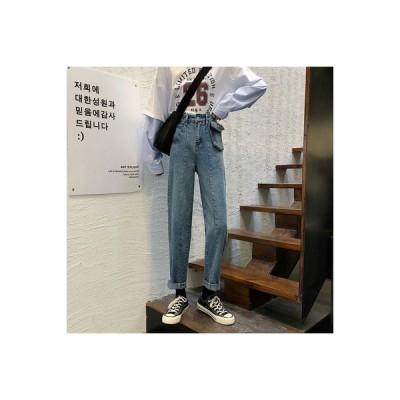 【送料無料】~ 韓国風 ルース ハイウエスト 着やせ ストレート ワイドレッグジーン | 346770_A64809-9880388
