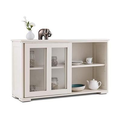 [新品]Costzon キッチンストレージサイドボード アンティークスタックキャビネット ホーム食器棚 ビュ