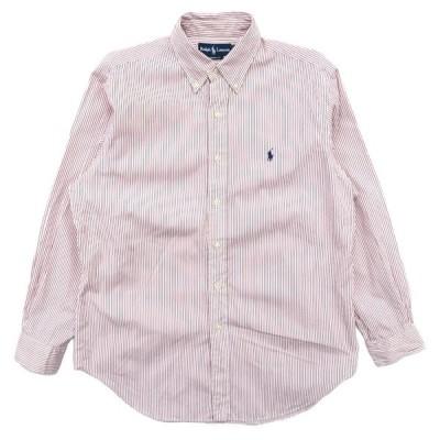 ポロラルフローレン ワンポイントロゴ ボタンダウンシャツ  ストライプ サイズ表記:16 L程度