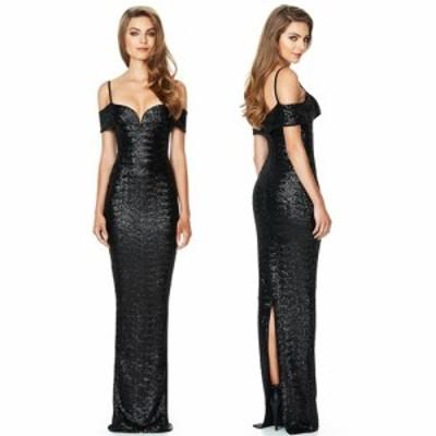 即納 全面スパンコール セクシー オフショルダー 肩魅せ スレンダー ブラック ロングドレス パーティ キャバ嬢